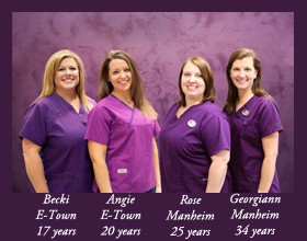 Becki, Angie, Rose, and Georgiann have a combined 96 years of caring for patients at White Family Dental.